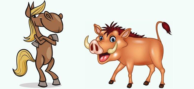 El caballo y el jabalí. Fábula de Fedro para niños
