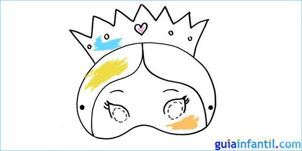 Antifaz de princesa para dibujar y pintar