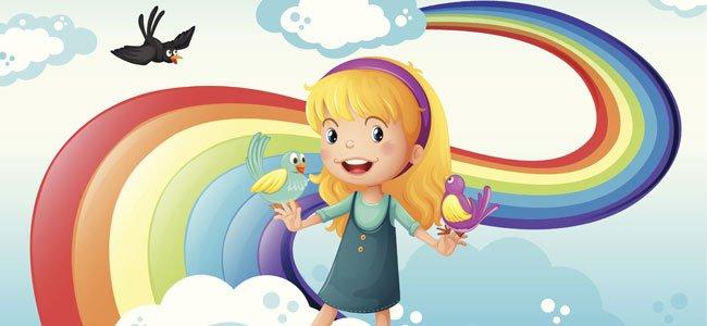 Niña con arcoiris