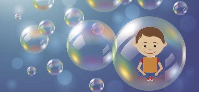Niño en burbuja