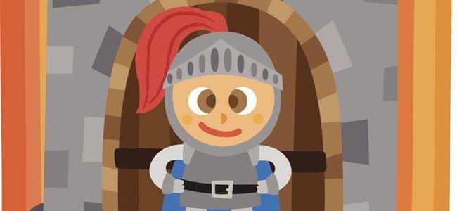 Caballero en torre de castillo