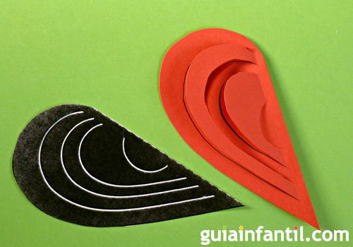 Corazón kirigami en 3D, paso 2