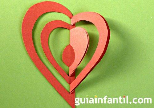 Corazón kirigami en 3D, paso 3