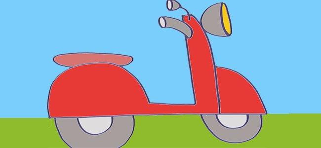 Dibujo de una moto. Paso 1.