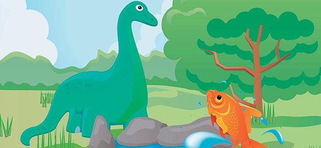 Cuento del dinosaurio y el pez