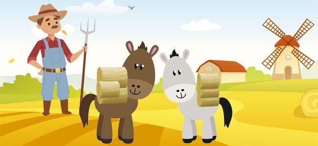 Fábula El caballo y el asno, para niños