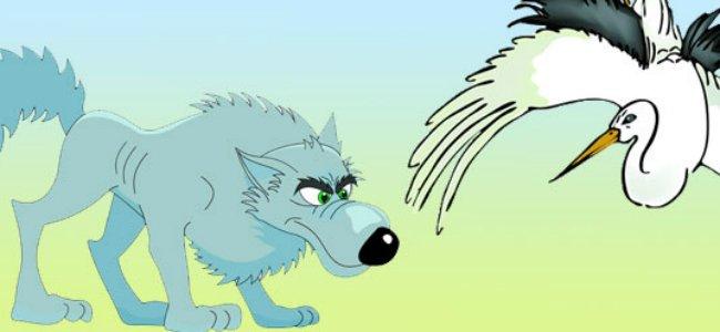 El lobo y la grulla Fábula de Esopo para niños