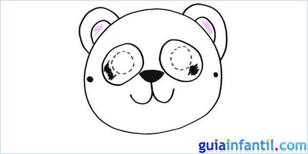 Careta de oso panda para dibujar y pintar