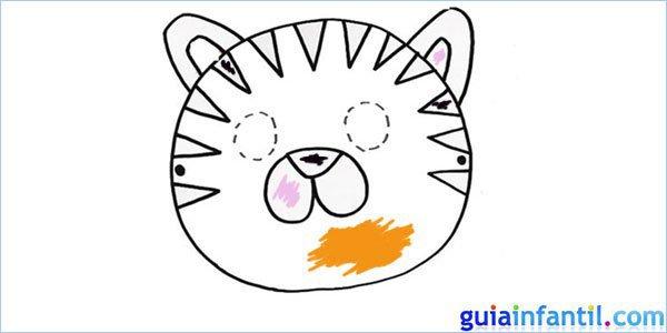 Máscara de tigre para colorear y pintar