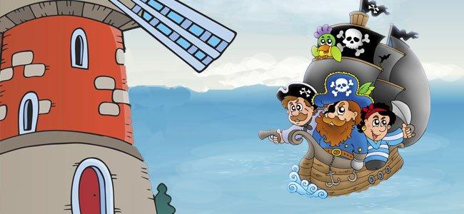Piratas y molino