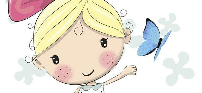 Niña con mariposa azul