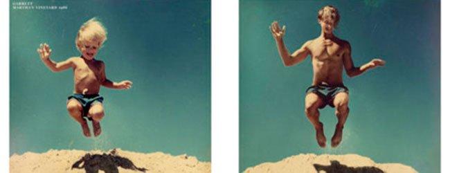 Niño saltando en la arena