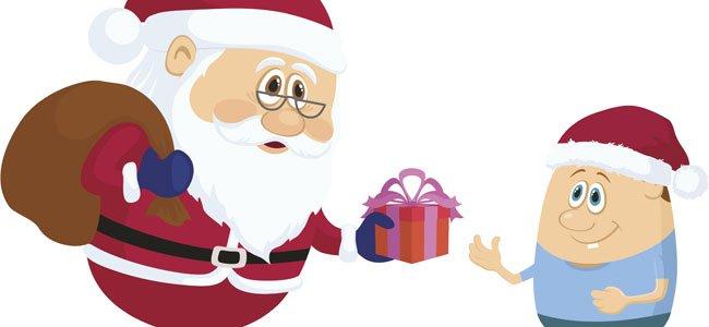 Santa Claus da regalo a niño