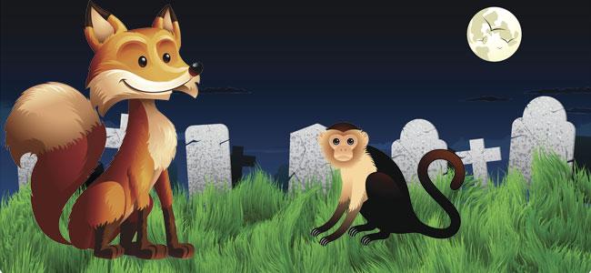 La zorra y el mono disputando su nobleza. Fábula clásica para niños