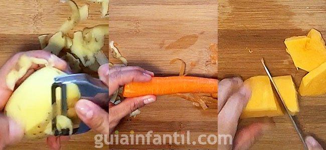 Receta de puré de calabaza, zanahoria y patata. Paso 1
