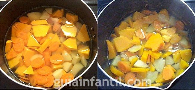 Receta de puré de calabaza, zanahoria y patata. Paso 2