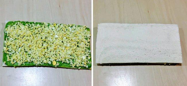 Árbol de Navidad con pan de molde. Paso 3