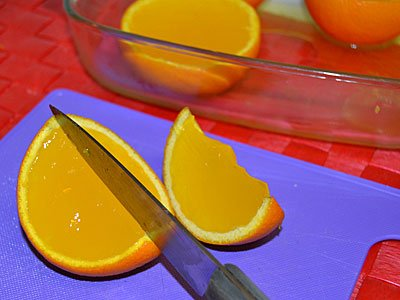 Receta paso a paso de gajos de naranja con gelatina 5