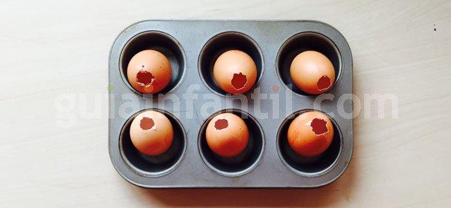 Receta de trampantojo: huevos de pascua. Paso 1