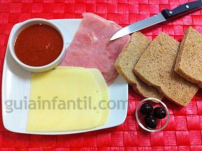 Ingredientes para el sandwiche de momia