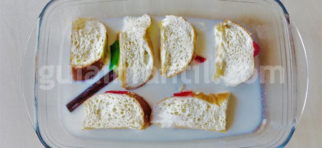 Torrijas de roscón con nata para Navidad. Paso 2