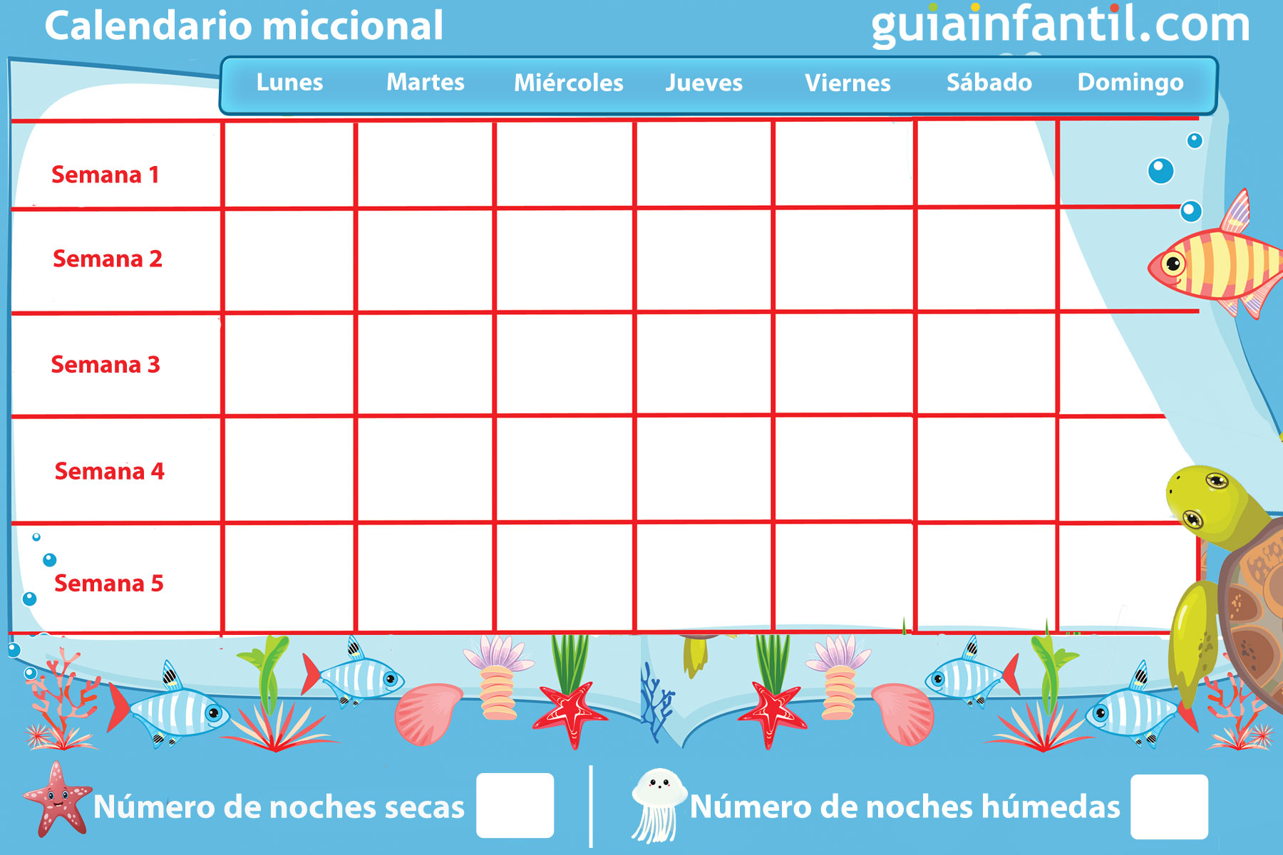 Calendario miccional para que los niños controlen el pis nocturno