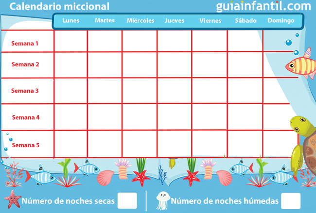 Calendario miccional para niños con enuresis