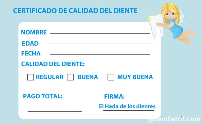 Certificado Hada de los dientes
