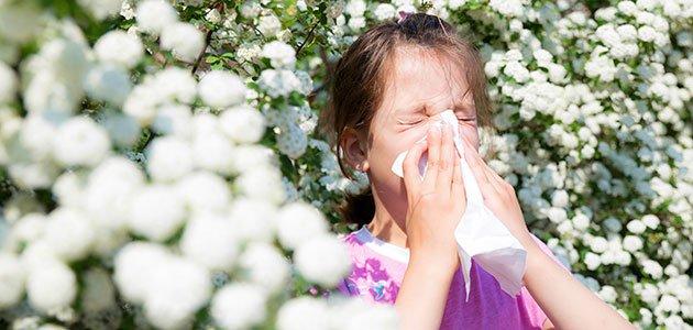 Niña estornuda por alergia