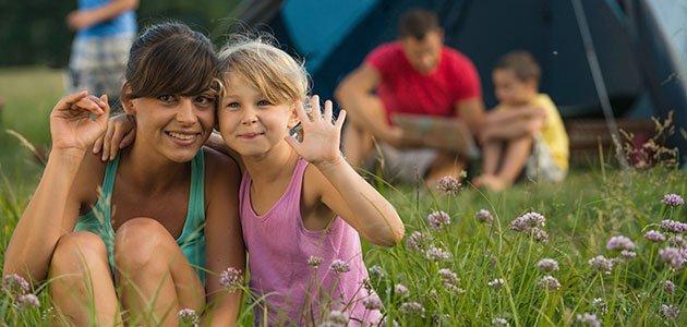 Niños en un campamento