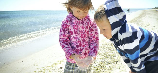 Niños con medusa