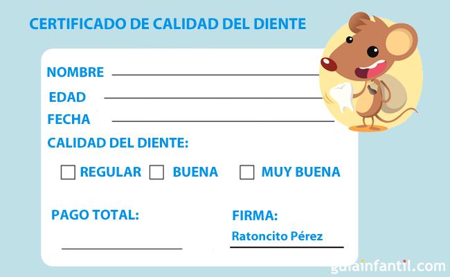 Certificado del Ratoncito Pérez